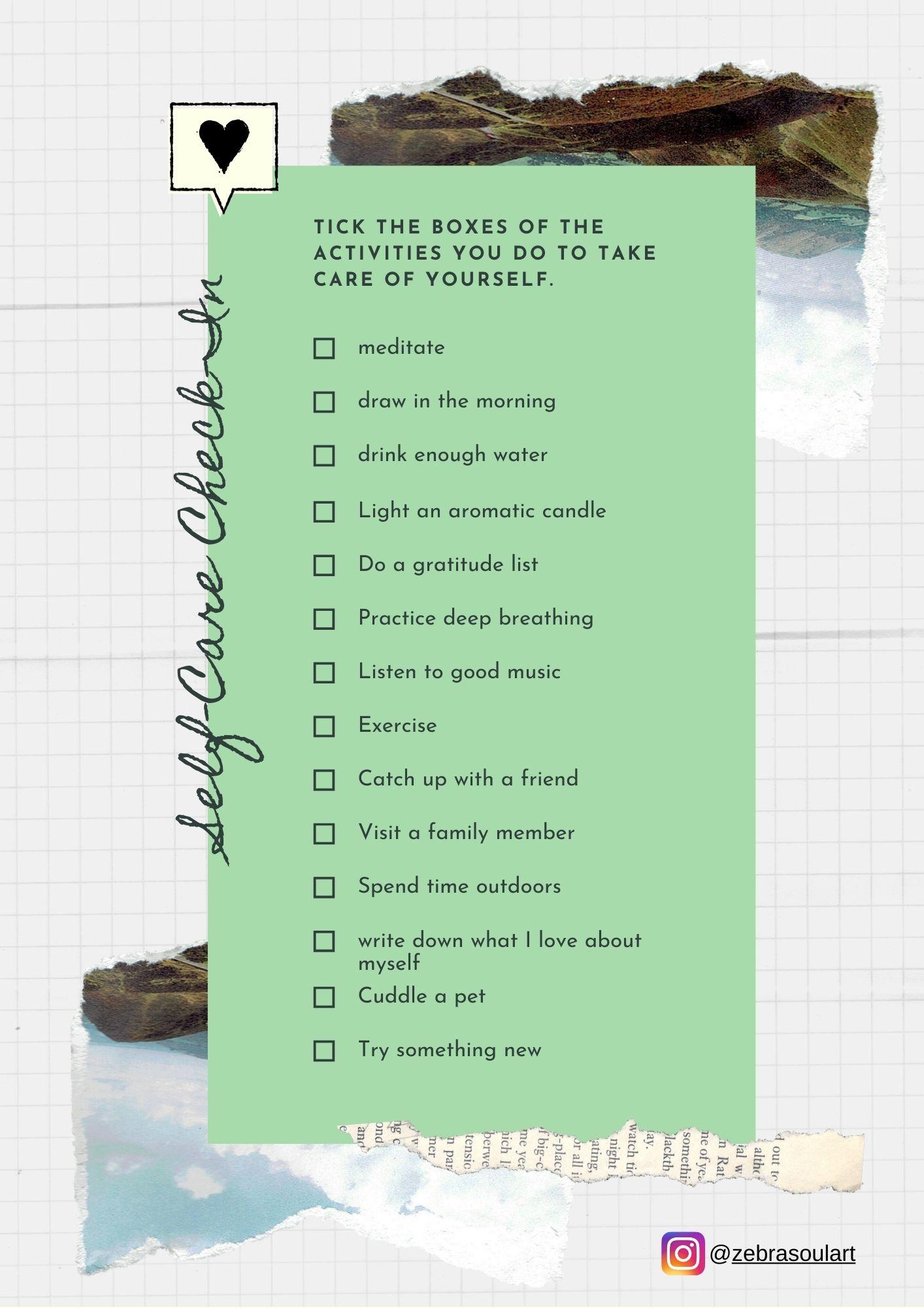 green checklist for self care