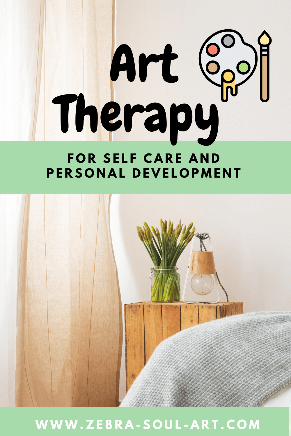 home decoration, with a beige curtain flowers on a bed stand and part of a bed showing . text saying art therapy for self care and personal development