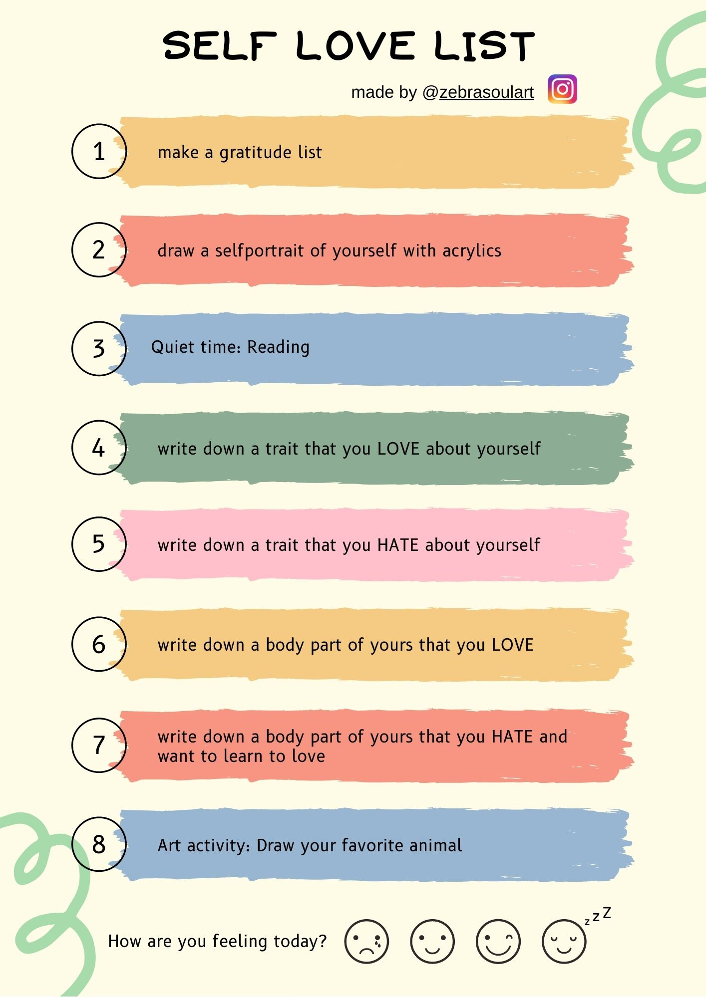 colorful checklist with a yellow background, showing you daily inspiration what to do for self love, by zebra soul art