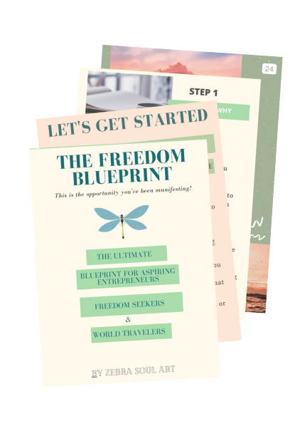 Freedom Blueprint Zebra Soul Art Preview, showing pages of the blueprint for entrepreneurs