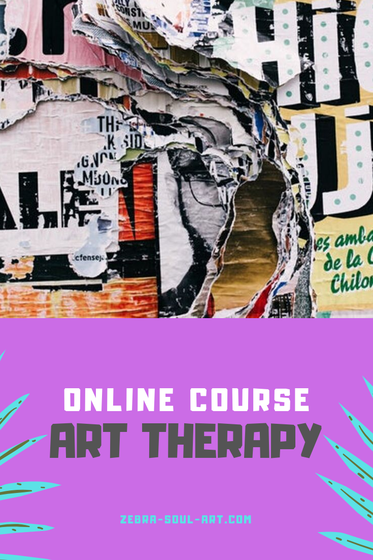 colorful collage art, text on magenta background saying online art therapy course