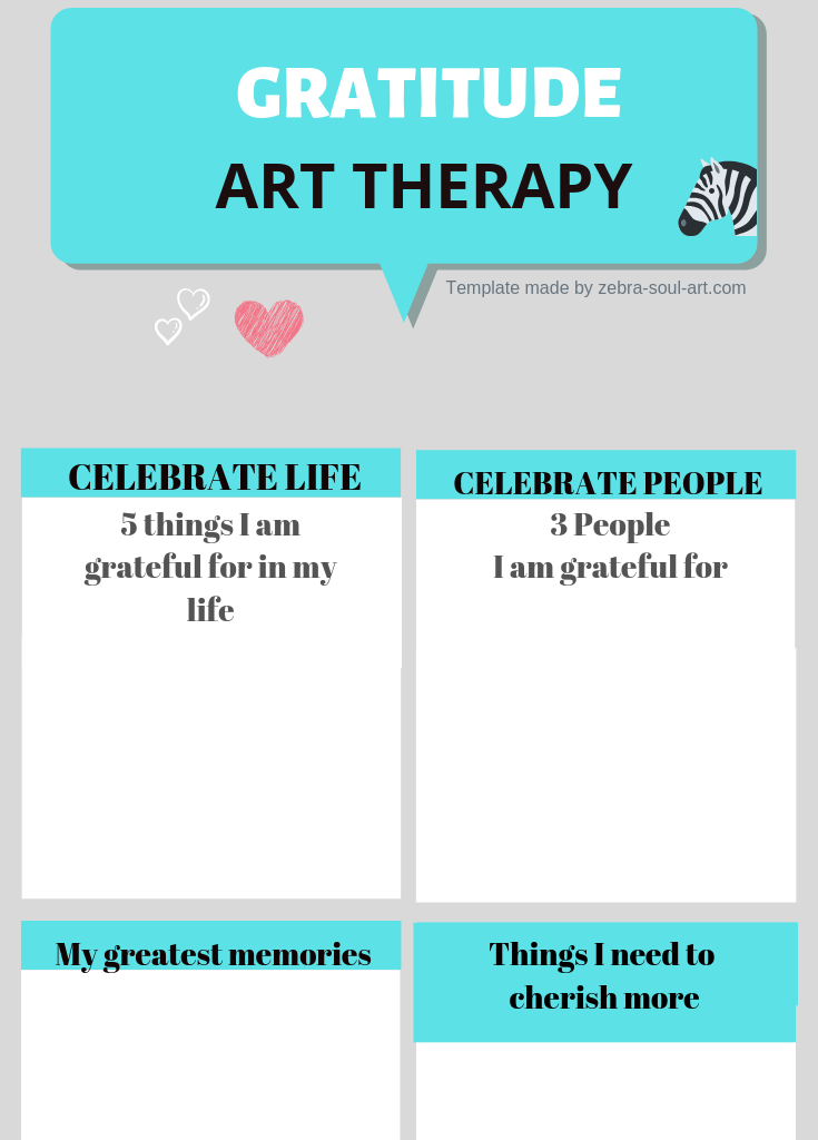Learn to Practice Gratitude daily: Gratitude Template made by Zebra Soul Art