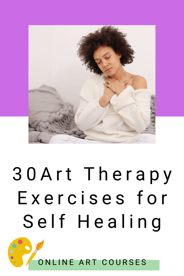 young curly haired and relaxed woman sitting on her bed. 30 art therapy exercises for self healing by zebra soul art
