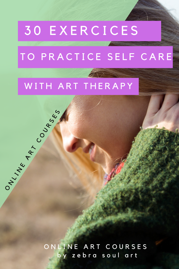 young blond woman smiling, text showing art therapy for self love and personal development
