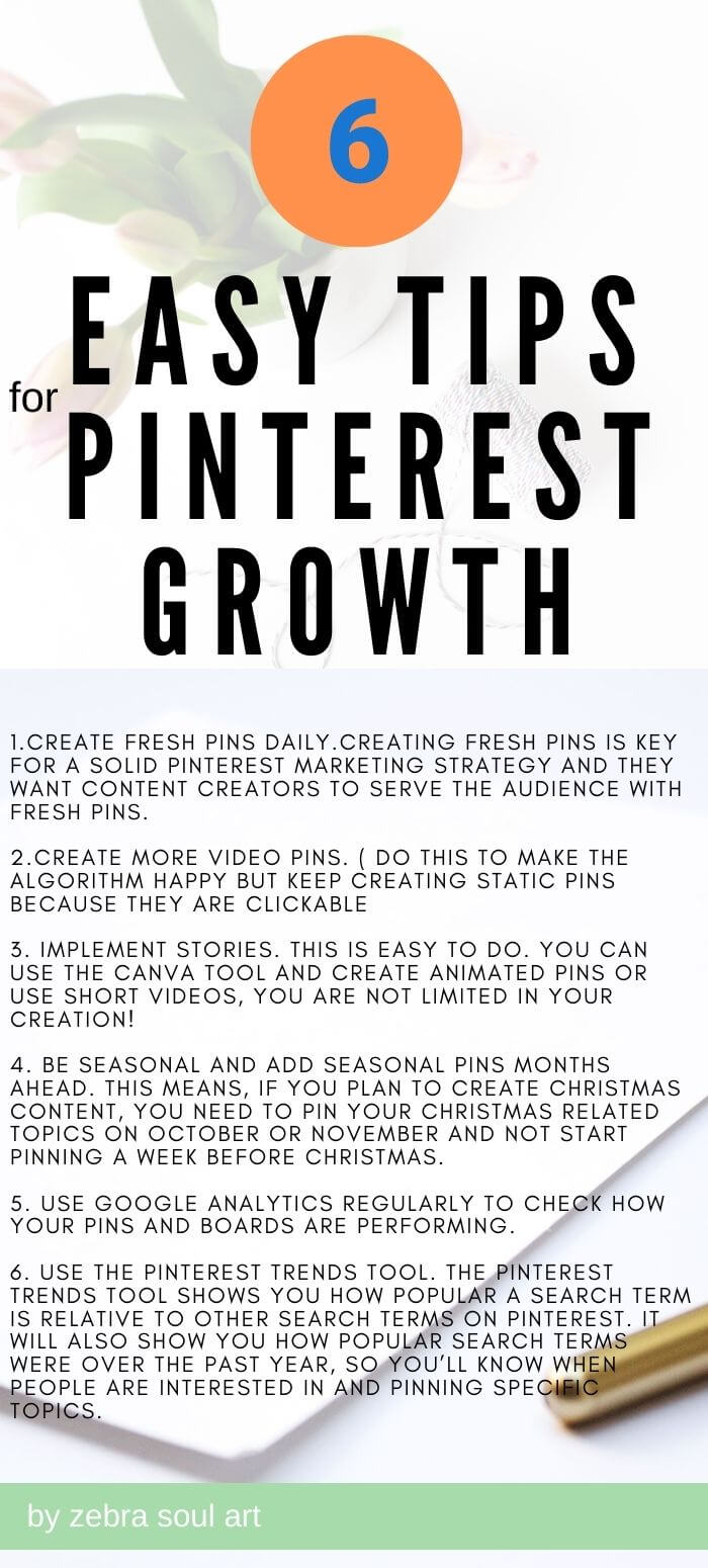 pinnable image with text 6 tips for simple pinterest growth, by zebra soul art