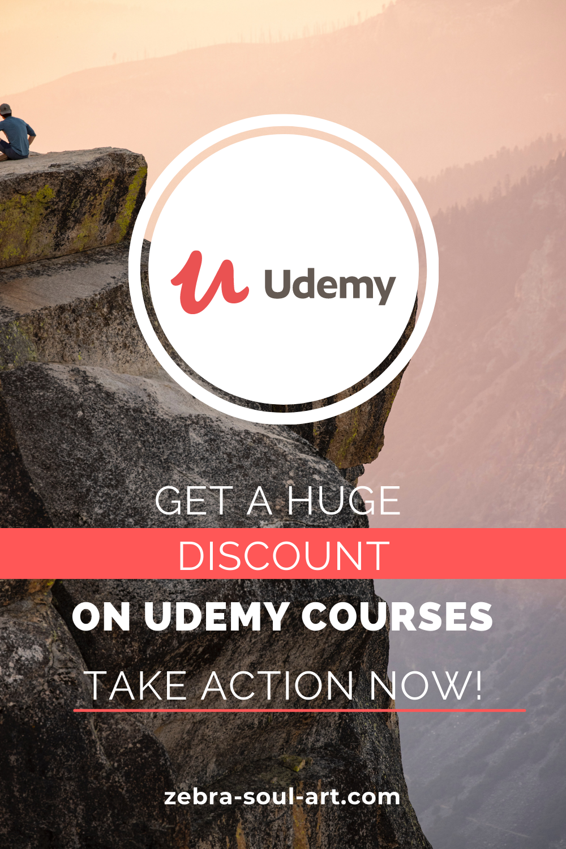 udemy logo, get a huge discount on udemy courses by zebra soul art