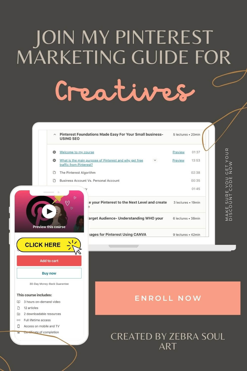 white computer showing a pinterest course content and a white phone showing to enroll to my pinterest marketing guide for creatives