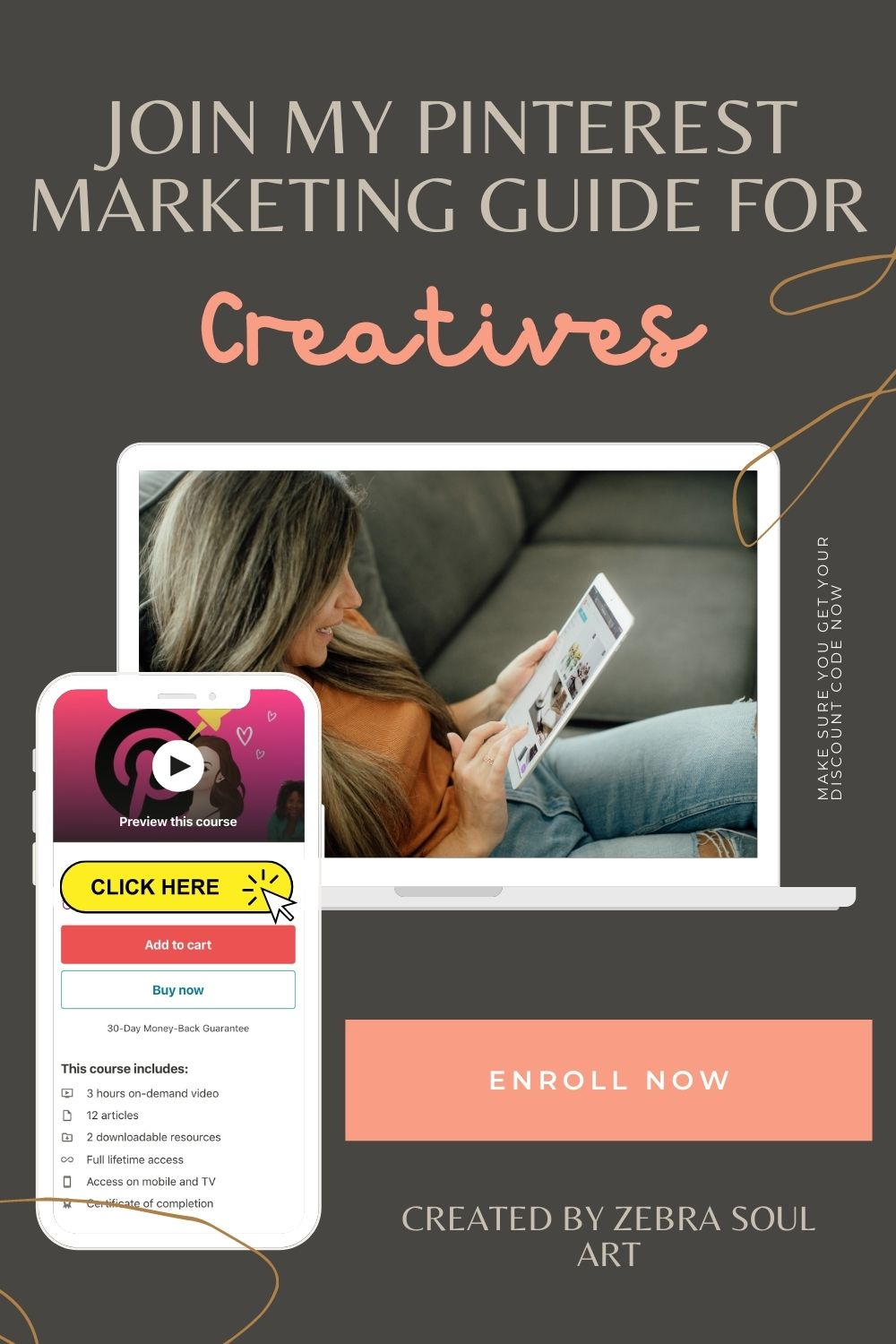 white woman sitting laid back on her sofa and typing on her tablet. her image is inside a computer mockup and it says pinterest marketing guide for creatives, online course by zebra soul art