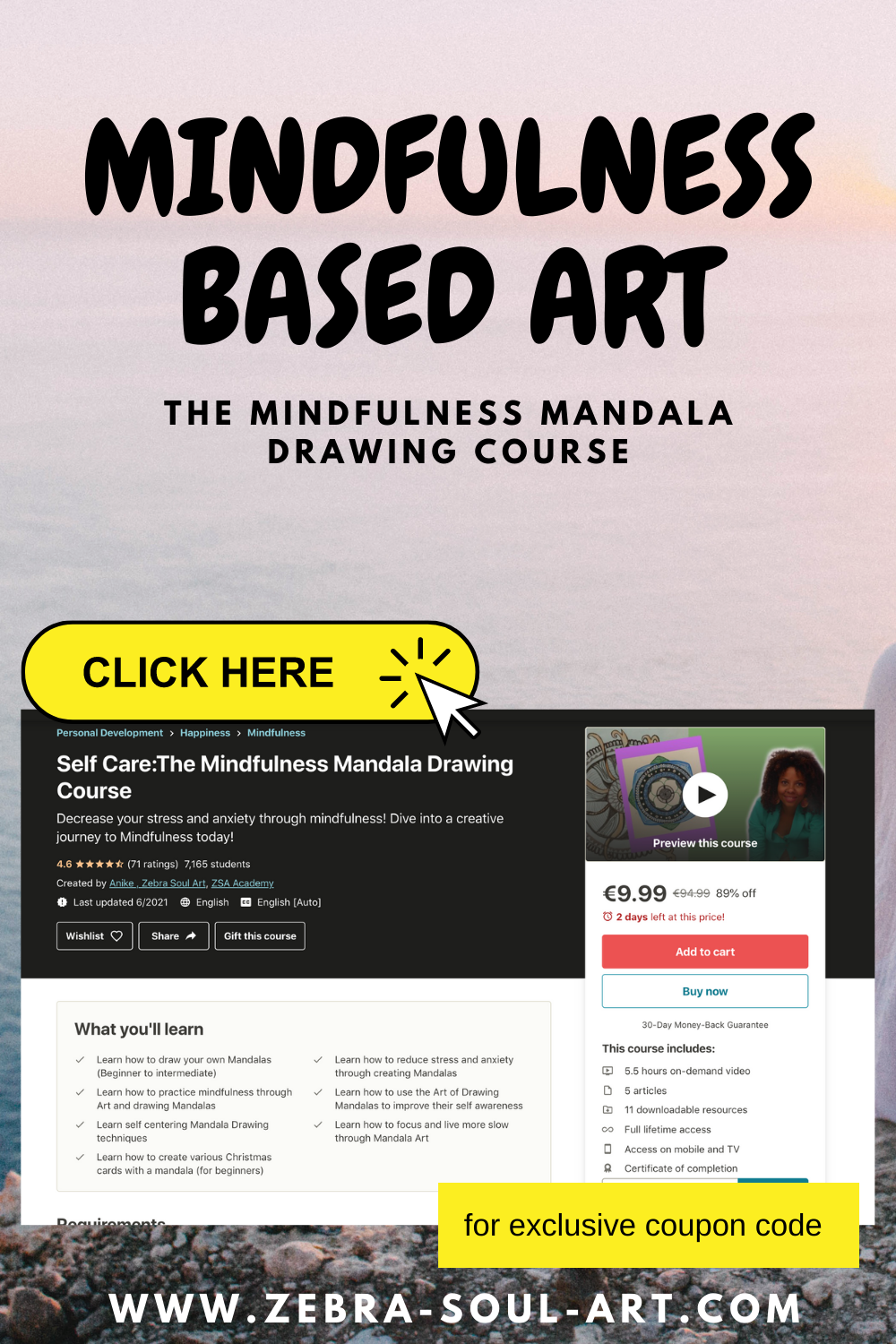 pinnable image for a mindful mandala drawing course