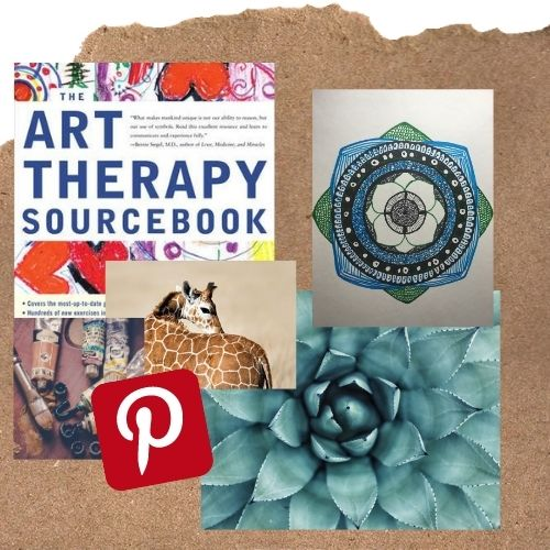 Pinnable image showing a collage with an art therapy book the art therapy sourcebook by cathy a malchiodi, mandala, a giraffe, some art colors ,a flower and a pinterest symbol