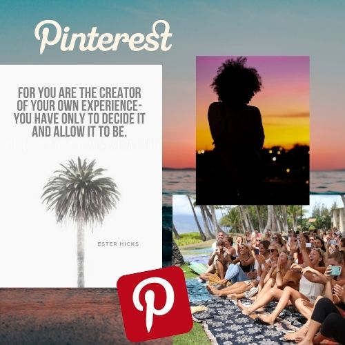 showing three images.one with a palm tree, one silhouette with a curly hair girl and an image with a group of young people at an event in hawaii