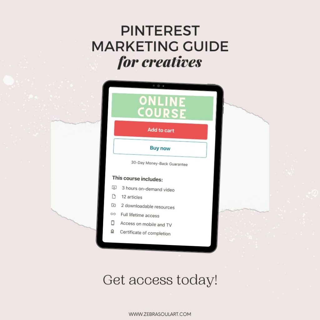ipad on a pink background showing a pinterest online course called pinterest marketing guide for creatives, by zebra soul art. the course is shared on a platform called udemy