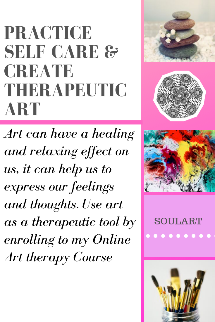 showing mandalas and art, text saying self care practice therapeutic art, online art course